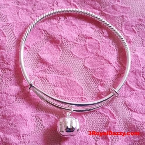 New Handmade 925 Solid Silver Round Spiral & Bell Newborn Baby Adjustable Bangle - 3 Royal Dazzy