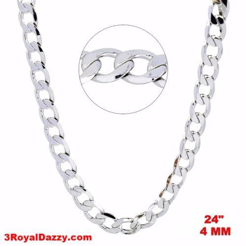 "New Italian 14k White gold Rhodium on 925 Sterling Silver Curb Chain- 4 mm - 24"" - 3 Royal Dazzy"