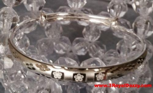 Handmade Dainty Chic Floral Design 999 Solid Fine Silver Adjustable Bangle - 3 Royal Dazzy