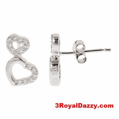 18k white gold layered on CZ .925 Sterling Silver micro pave double heart earrin - 3 Royal Dazzy