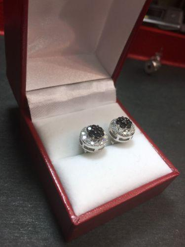 New White & Black  Cubic Zirconia 14k White Gold On Silver Round earring 10.1 mm - 3 Royal Dazzy