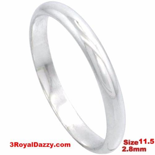 Italy 14k white gold layered on silver polish wedding band ring 2.8mm Size11.5 - 3 Royal Dazzy