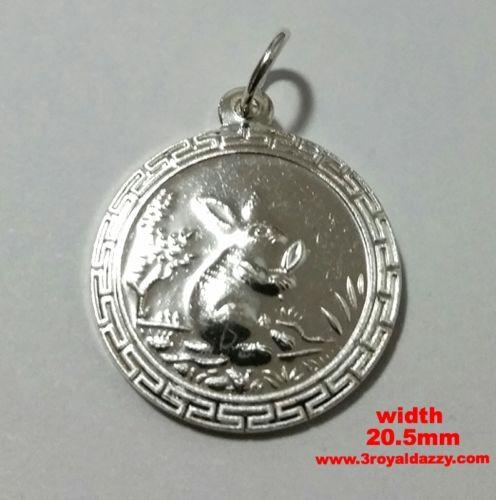 Chinese Zodiac Horoscope 999 fine Silver Round Year of Rabbit Pendant charm - 3 Royal Dazzy