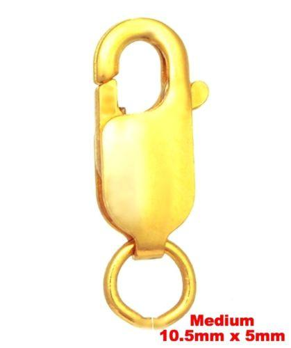 mediumLobster Claw Clasp Yellow Gold Layer on solid .925 Sterling Silver Finding - 3 Royal Dazzy