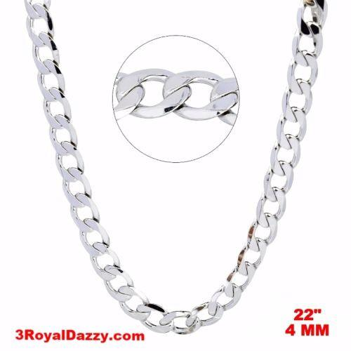 "New Italian 14k White gold Rhodium on 925 Sterling Silver Curb Chain- 4 mm - 22"" - 3 Royal Dazzy"