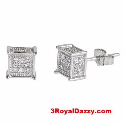 Men Fashion Square Cube Micro Pave CZ .925 Sterling Silver Stud Earrings - 3 Royal Dazzy