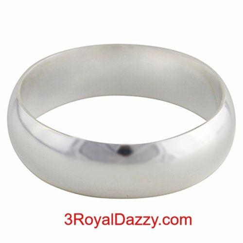 Handmade Solid 999 Silver high polished glossy plain wedding Ring Band 5.5mm S3 - 3 Royal Dazzy