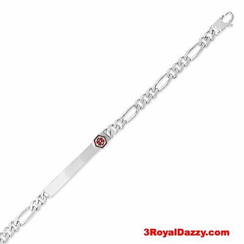 "925 Sterling Silver Personalized MEDICAL Alert Figaro Link I.D Bracelet 6.5mm 8"" - 3 Royal Dazzy"