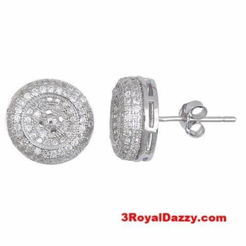 Splendid Round Button Shaped .925 Sterling Silver Micro Pave CZ Stud Earrings - 3 Royal Dazzy