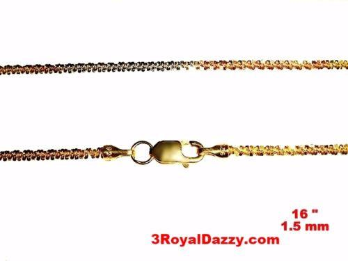 "18k white yellow & rose gold layered on 925 Sterling Silver Rock Chain 1.5mm 16"" - 3 Royal Dazzy"