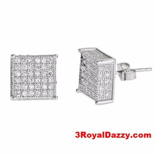 Large size Platinum Layered on .925 Sterling Silver Square shape Micropave Stud - 3 Royal Dazzy