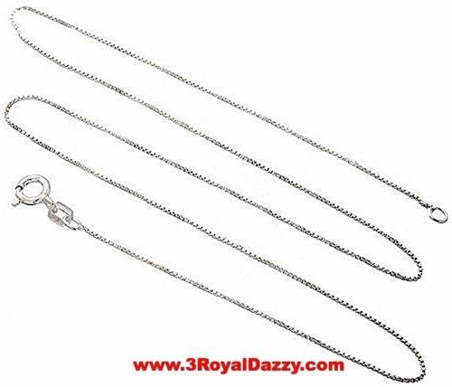 "Italian Solid Anti Tarnish .925 sterling silver box link chain - 1.25 mm 20 "" - 3 Royal Dazzy"