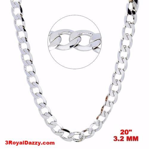 "New Italian 14k White gold Rhodium on 925 Sterling Silver Curb Chain- 3.2mm- 20"" - 3 Royal Dazzy"