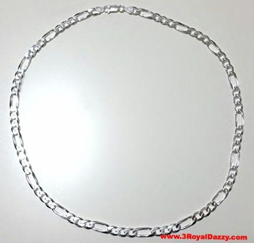 "Men Women Children Solid Silver Italian Figaro Extra Thick Necklace 6.5 mm 18 "" - 3 Royal Dazzy"