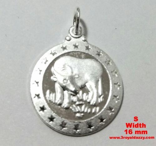 Small Chinese Zodiac Horoscope 999 fine Silver Round Year of Ox Pendant charm - 3 Royal Dazzy