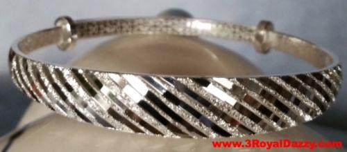 Handmade Textured Glittering Line Design 999 Solid Fine Silver Adjustable Bangle - 3 Royal Dazzy