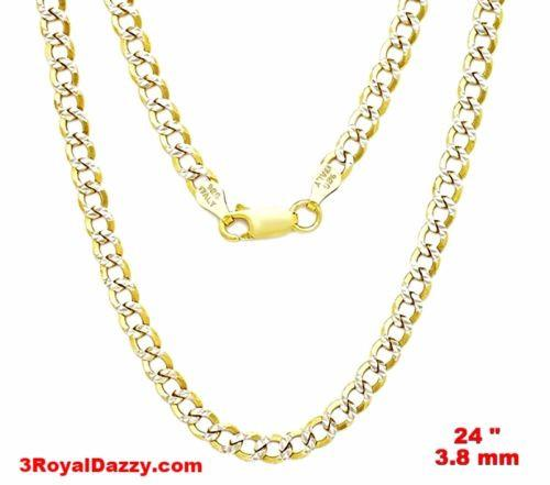 "Italy diamond cut 14k white & yellow gold layered over.925 silver 3.8mm Curb 24"" - 3 Royal Dazzy"