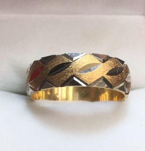 New 14k Solid Yellow & White Two Tone Diamond Cut 6mm Gold ring- 4.5g Size - 5.5 - 3 Royal Dazzy
