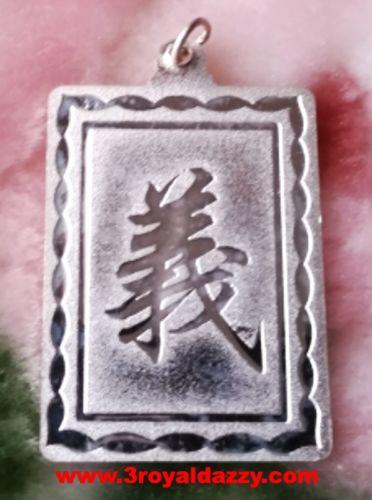 Courageous Lord Guan Yu / Guan Gong God 925 Anti Tarnish Rectangle Pendant Charm - 3 Royal Dazzy