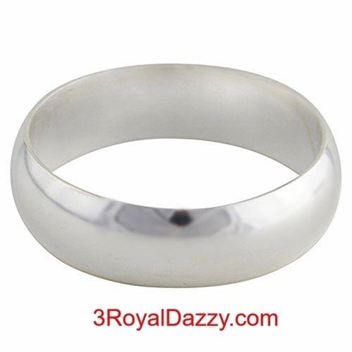 Solid 999 Fine Silver high polished glossy plain wedding Ring Band 5.0mm S- 4.5 - 3 Royal Dazzy