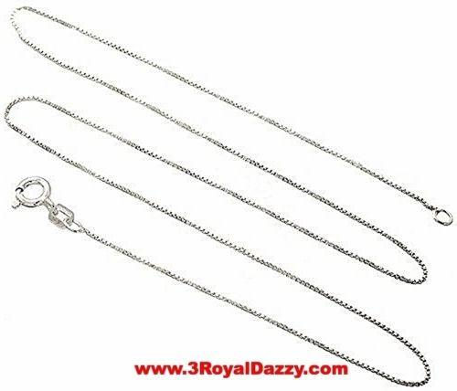 "Italian Solid Anti Tarnish .925 sterling silver box link chain - 1.25 mm 22 "" - 3 Royal Dazzy"