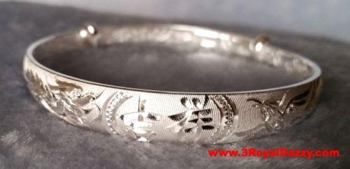 Handmade Chinese Lucky Dragon Phoenix 999 Solid Fine Silver Adjustable Bangle - 3 Royal Dazzy