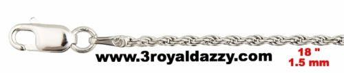 "Precious Italian .925 Sterling Silver Fashion  Classic Rope Chain 1.5 MM 18 "" - 3 Royal Dazzy"