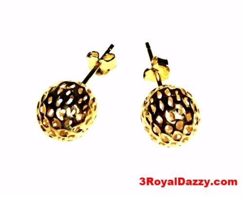 9mm Round Hollow Shiny Diamond Cut Ball Earring 14k Yellow Gold Layered On .925 - 3 Royal Dazzy