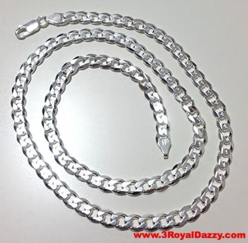 "Men Women Children Sterling Silver Italian Cuban Curb Thicker Necklace 5.5mm 30"" - 3 Royal Dazzy"