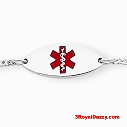 "Sterling Silver 18mm Oval Baby - Children Medical Alert ID Bracelet Adjust 5""-6"" - 3 Royal Dazzy"