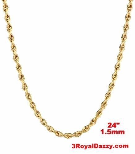 "Italy 14k yellow gold layer on 925 Sterling Silver Classic Rope Chain- 1.5MM 24"" - 3 Royal Dazzy"
