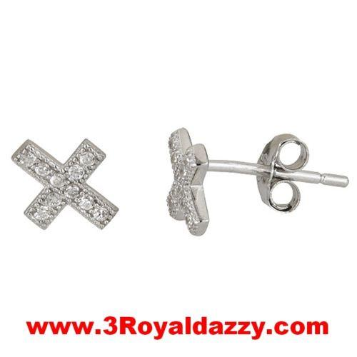 Cross CZ white gold 18k layered on .925 sterling silver micro pave earrings - 3 Royal Dazzy