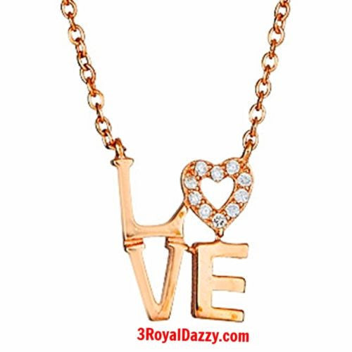 "14k Rose Gold on 925 Sterling Silver Womens Girls ""Love"" Heart Letters Pendant - 3 Royal Dazzy"
