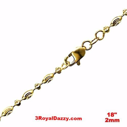 "14K Yellow Gold layered on 925 Silver diamond cut Moon Chain / Necklace-2mm- 18"" - 3 Royal Dazzy"