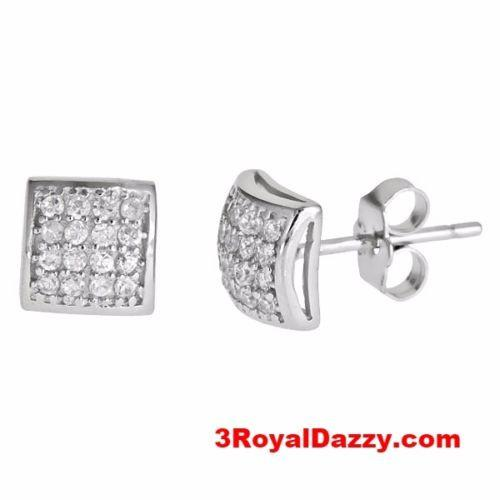 Men style Dome shape micro pave with CZ .925 Sterling Silver Stud Earrings - 3 Royal Dazzy