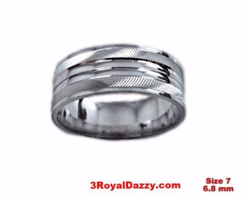 Shiny Elegant Design Cut 18k W Gold over Sterling Silver Ring Band 6.8mm Size 7 - 3 Royal Dazzy