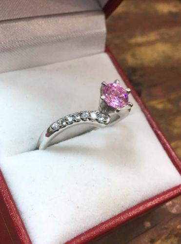 Royal Dazzy Exclusive Pink Cubic Zirconia Engagement Wedding ring Size -8 - 3 Royal Dazzy