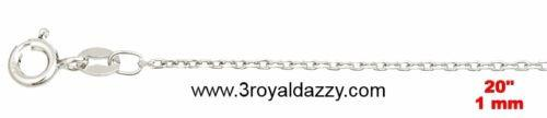 "Precious Italian Sterling Silver Diamond Cut Cable Chain 1 MM 20 "" - 3 Royal Dazzy"