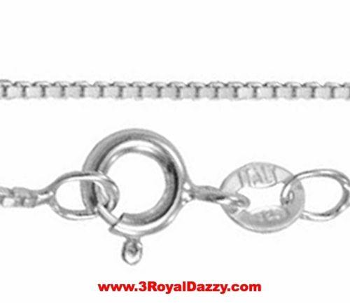 "Italian Solid Anti Tarnish .925 sterling silver box link chain - 1.25 mm 16 "" - 3 Royal Dazzy"