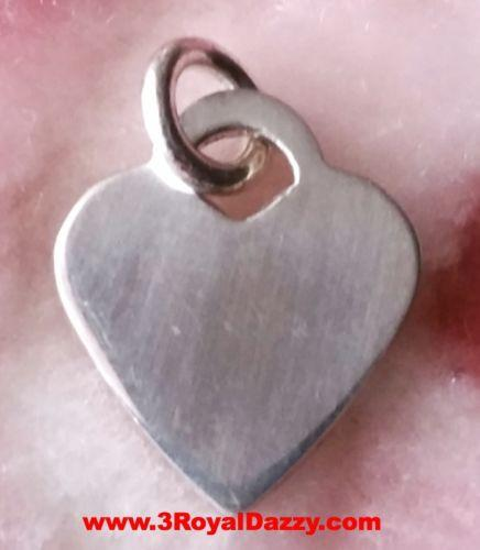 Engravable Flat Small Heart Plate Solid 925 Anti Tarnish Sterling Silver Pendant - 3 Royal Dazzy
