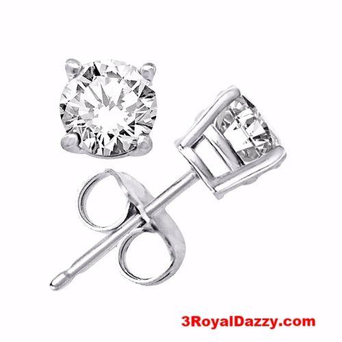 Platinum Layered Sterling Silver Round Cut Cz Unisex Prong Setting Stud Earrings - 3 Royal Dazzy