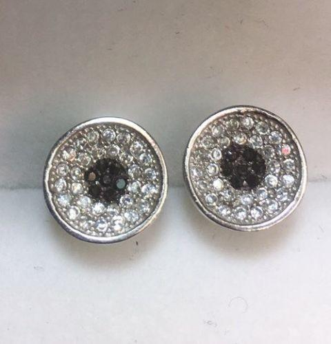 New White & Black  Cubic Zirconia 14k White Gold On Silver Round earring 9.6 mm - 3 Royal Dazzy