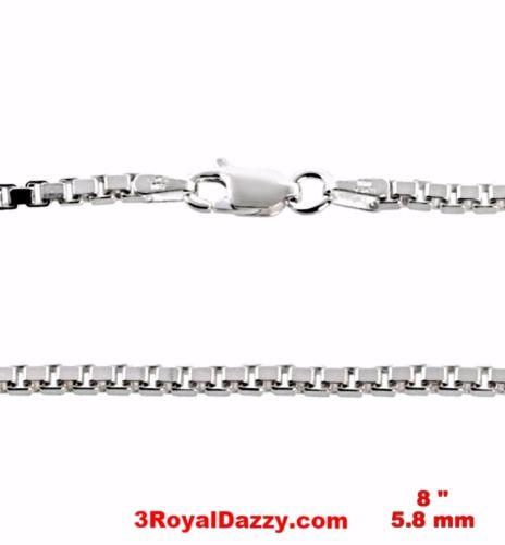 "Men Heavy Anti Tarnish 925 Sterling Silver Fashion Box Chain Bracelet 8"" - 3 Royal Dazzy"