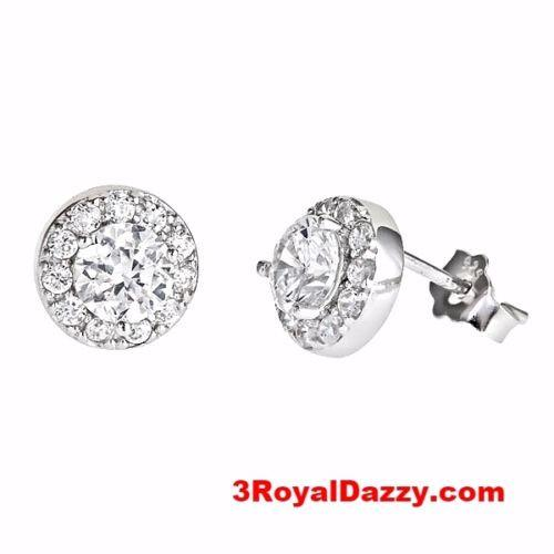Fashionable Round Shape Micro Pave CZ .925 Sterling Silver Earrings - 3 Royal Dazzy