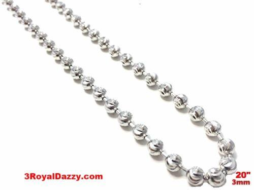 "18k white gold layered over .925 sterling silver moon cut chain 3 mm 20 "" - 3 Royal Dazzy"
