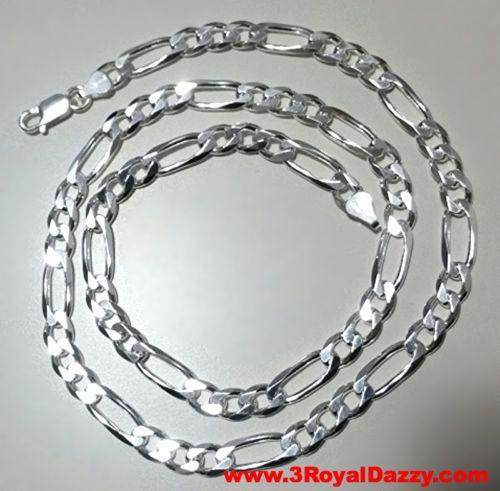 "Men Women Children Solid Silver Italian Figaro Extra Thick Necklace 6.5 mm 20 "" - 3 Royal Dazzy"