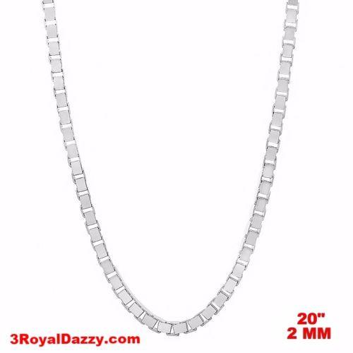 "Italy 14k white gold layered over Solid 925 sterling silver Box Chain - 2 mm 20"" - 3 Royal Dazzy"