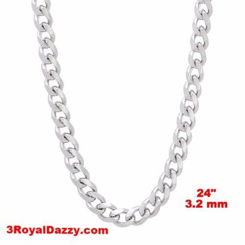 "14k White gold Layer on Solid 925 Sterling Silver Miami Cuban Chain- 3.2 mm- 24"" - 3 Royal Dazzy"