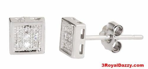 95f526f9970 14k white gold layer Square style micro pave CZ 925 Sterling Silver Stud  Earring