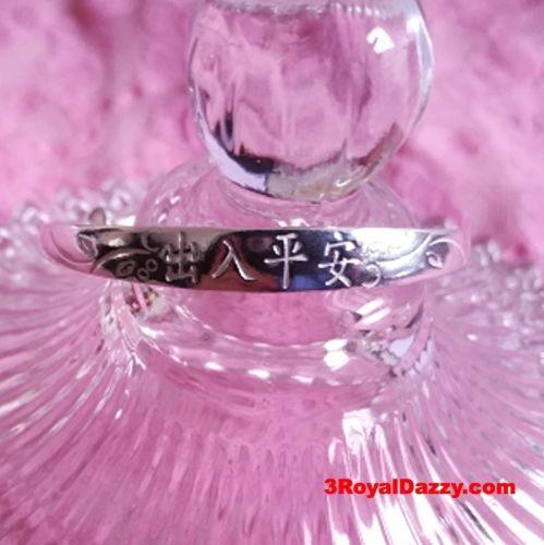 New Sterling Silver Flat Chinese Blessing Writing Newborn Baby Adjustable Bangle - 3 Royal Dazzy